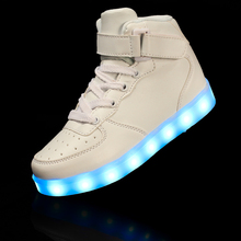 2016 Fashion Children's High Top USB Charging LED Light Casual Shoes, Boys and Girls Luminous Neon Basket  Sneakers