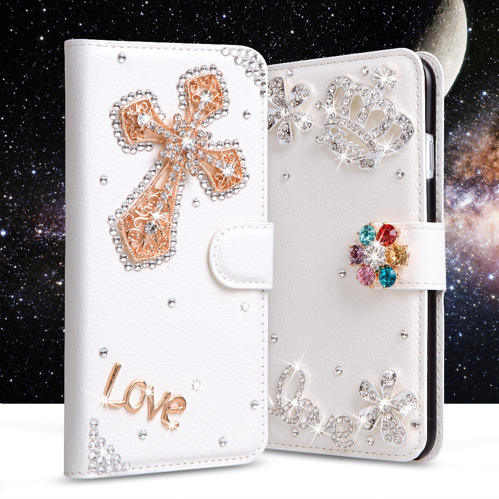 3D Glitter Leather Case For Huawei Y5 2017 Case Bling Crystal Cross Crown Rose Flip Wallet Stand Cover For Huawei Y 5 2017 Case(China)