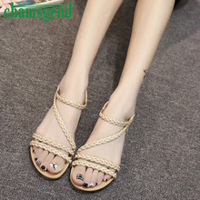 2017 New Fashion Women Summer Weave Bohemia Rome Sandals Shoes Females Flat Open Toe Sandals Girls Beach Sandals Shoes Feb22