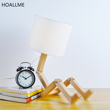 Creative Nordic Fashion Wood Robot Folding Desk Lamp Read Table Lights Reading Lamps Bedside Lighting For Bedroom Living Room