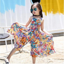 2017 New children Bohemian dress with shoulder-straps girls summer wear floral wide-legged pants jumpsuits dress personality