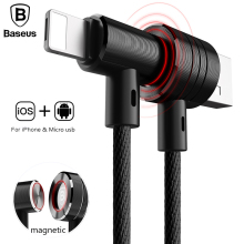 Baseus Magnetic USB Charger Cable For iPhone 5 6 7 Fast Charging Cable For Samsung Huawei Micro USB Cable Portable Data Cable(China)