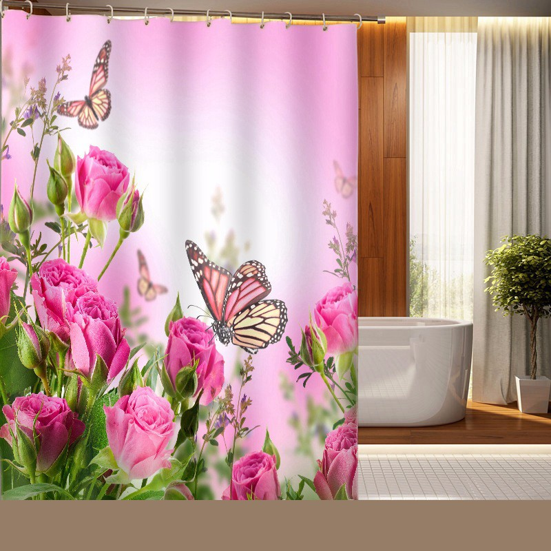Personality-Butterfly-Rose-Printing-Polyester-Shower-Curtain-Waterproof-Mildew-Home-Bathroom-Curtain-Custom-Made