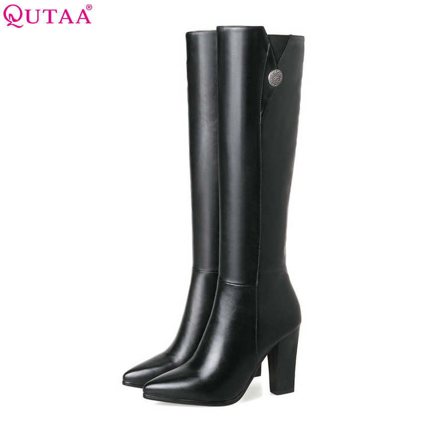 QUTAA 2018 Women Over The Knee High Boots Ashion Pu Leather Square High Heel Pointed Toe Women Motorcycle Boots Size 34-43<br>