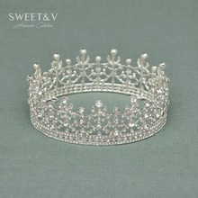 CLEARANCE SALE Sparkly Royal Full Round Crown Princess Tiara Rhinestone Head Jewelry Hair Accessories for Wedding Festival Prom