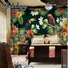 Beibehang custom parrot living room TV background wallpaper wallpaper personalized Amazon rainforest in South America a big fres