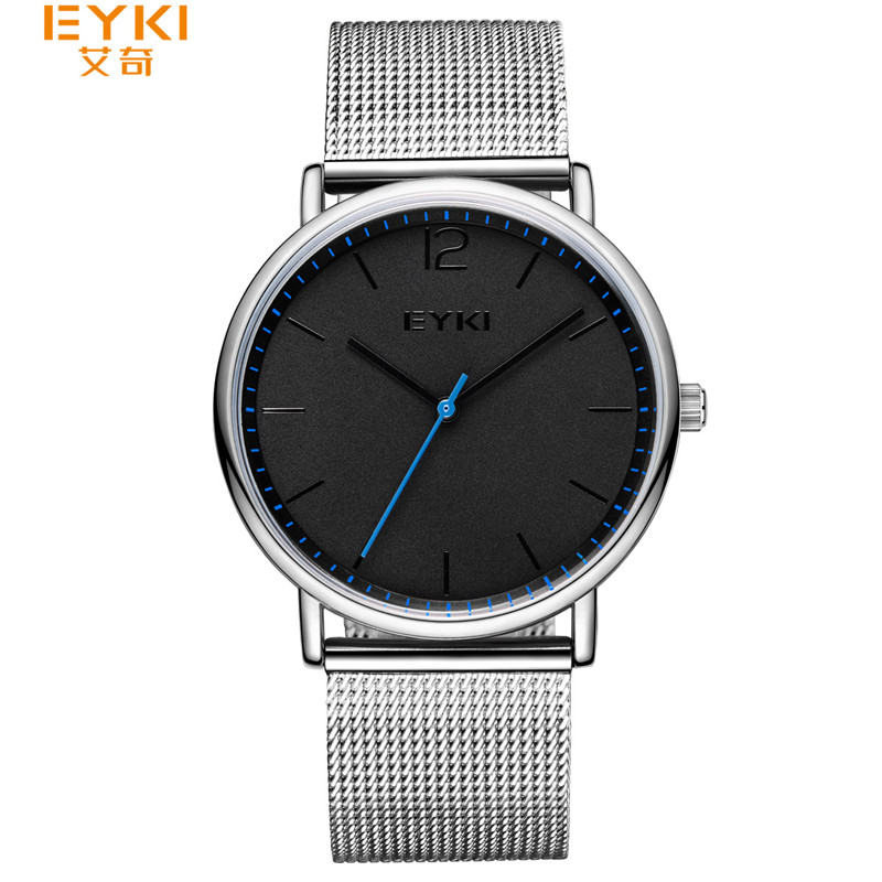 EYKI Men Minimalist Watch Luxury Fashion Ultra Thin Quartz Watches Big Dial Silver Mesh Steel Watch Men Clock Meskie Zegarki<br>