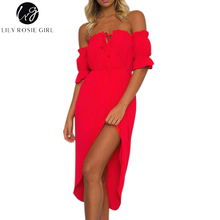 Buy Lily Rosie Girl Shoulder Red Sexy Ruffles Dress Women Short Sleeve Lace Summer Beach Maxi Long Party Dresses Vestidos for $13.99 in AliExpress store