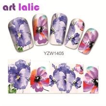 1 sheet Water Transfer Nail Art Sticker Decal Purple Azalea 3D Print Manicure Tips DIY Nail Foils Decorations 1405