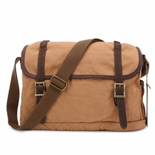 New Man's Cotton Canvas Leather Menssenger Shoulder Bag Crossbody Traveling Laptop Casual Bag School Handbag(China)
