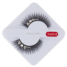 Handmade Natural Fake Black Long Rhinestone False Eyelashes Beauty Party 1 Pairs Eye Lashes Beauty Bride Wedding Free Shipping