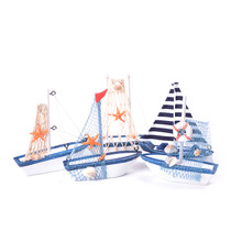 Wood Boat Wooden Sailing Ship Nautical Decoration Home Office Crafts Sailboat Decor Wooden Ship Model Miniature Figurine(China)