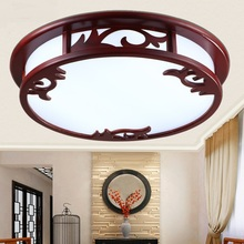 Modern Chinese round acrylic solid Ceiling Lights wood bedroom atmosphere lamps antique led restaurant lighting LU620 ZL498(China)
