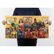 DC anime super hero collection cafe bar bedroom living room decorative painting Kraft poster 70.5x37cm