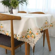 1 Piece European Satin Embroidery Table cloth/ Fashion Pastoral Decorative Tablecloth/ Modern Home Furnishing Square Table Cloth