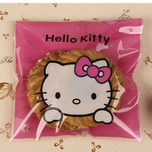 50pcs/lot cute pink bownot Hello Kitty Candy Bags Self-adhesive Plastic Biscuit Packaging Bag 10*10cm plus 3cm(China)