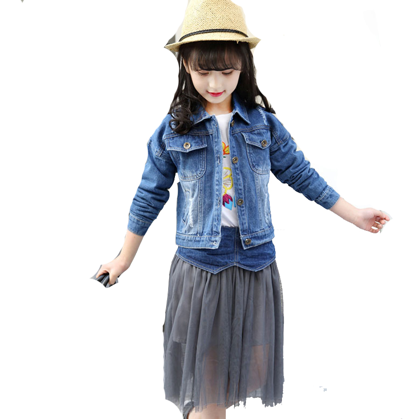 Girls Clothing Sets Ripped Jeans Jackets &amp; Mesh Skirts 2Pcs Spring Autumn Denim Coats Girls Long Tulle Skirts Kids Outfits 2-12Y<br>