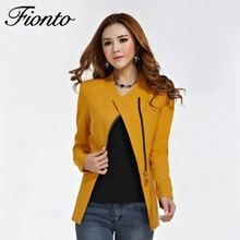 Buy 2018 Fashion Basic Jacket Blazer Women Suit Zipper Slim suit Sleeve Ladies Plus Size Brand Coats Casual blazer female F2560 for $13.60 in AliExpress store