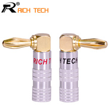 2pcs High Quality 90 Degree Angel 4mm Banana Plug For Video 24K Gold Plated Speaker Copper Adapter Audio Banana Connector(China)