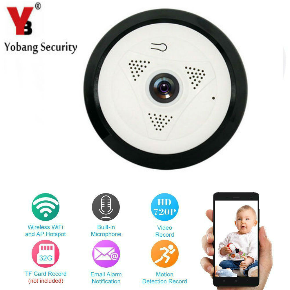 YobangSecurity 360 Degree 960P 1.3MP Wifi IP Camera Wireless Indoor Wifi Cam Home Surveillance Camera Day Night Remote Viewing<br>