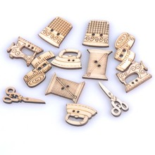 18-30mm mixed Natural Sewing tool wooden Handmade Buttons Scrapbooking Carft for decoration 50pcs MT0901x(China)