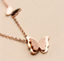 3 color Fashion vintage rose gold-color stainless steel butterfly necklace dull polish Statement necklace for women(China)