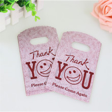 Hot Sale New Design Wholesale 50pcs/lot 9*15cm Good Quality Mini Thank You Gift Bags Small Plastic Shopping Packaging Bags