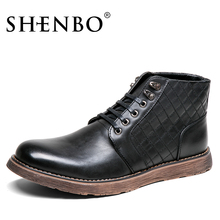 SHENBO Brand High Quality Men Boots, Fashion Men Ankle Boots, Men Autumn Winter Boots