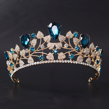 Gold Color Classic Blue Wedding Hair Accessories Leaf Crystal Rhinestone Prom Crown Bridal Pageant Tiaras Hair Jewelry