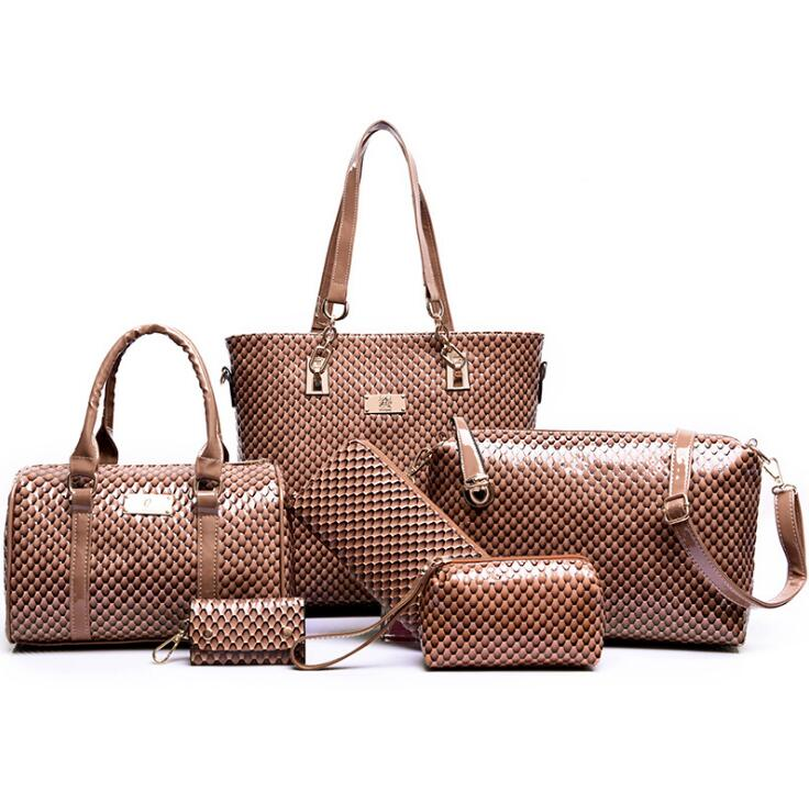 2017 Brand Bags Women Set of Female Bags 6 Pieces Womens pouch Shiney Print PU Woman Bags Handbags Ladies Totes<br>