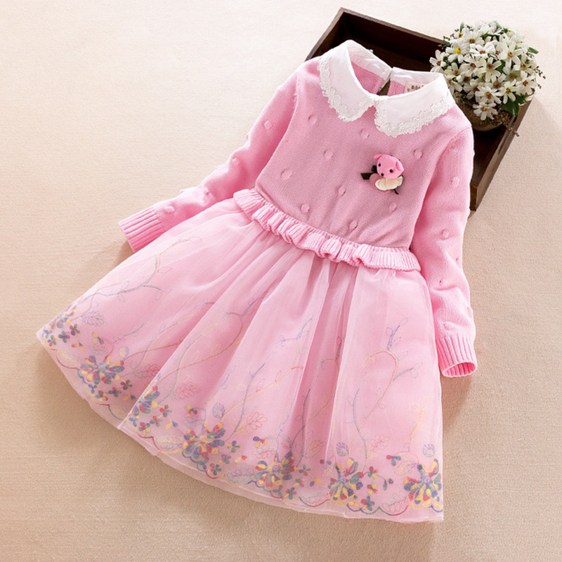 Thick Warm Kids Girl Dress Wedding Party Dresses with long sleeves for girls Winter autumn Pink Child clothing 5 7 8 9 years old<br>
