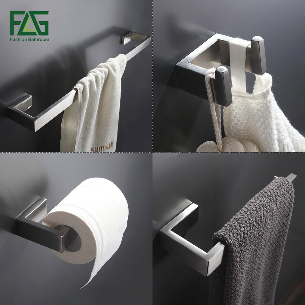304 Stainless Steel Nickel Brushed Wall Mount Bath Hardware Sets,Towel Bar,Robe hook,Paper Holder,4pcs/set,Free Shipping SS01-4(China (Mainland))