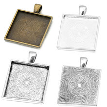 Fit 25x25mm Square Antique Silver/bronze Silver Cameo/Glass/Cabochon Frame Bezel Settings, Pendant Tray blank 20pcs/lot (K05184)(China)