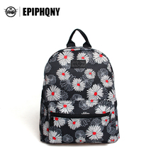 Epiphqny Brand Women Printing Floral Backpack White Flower Canvas College Bags for Teenager Girl Fresh Design Colors Small(China)