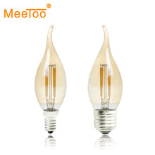 Dimmable LED Filament Candle Light Bulb New E14 E27 AC 220V 2W 4W 6W C35 LW Vintage Edison Bulb for Chandelier Warm White 2200K(China)