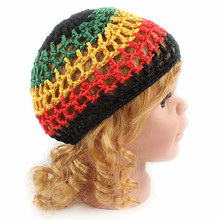 Helisopus 2017 New Fashion Kids Hair Net Crochet Mesh Cap Color Red Yellow Black Green  National Cap Hand Made Children Cap
