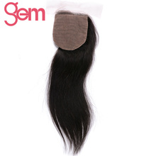 Gem Beauty Brazilian Remy Hair Straight Silk Base Closure 130% Density Human Hair Weave Lace Closure Free Part 4x4 closure