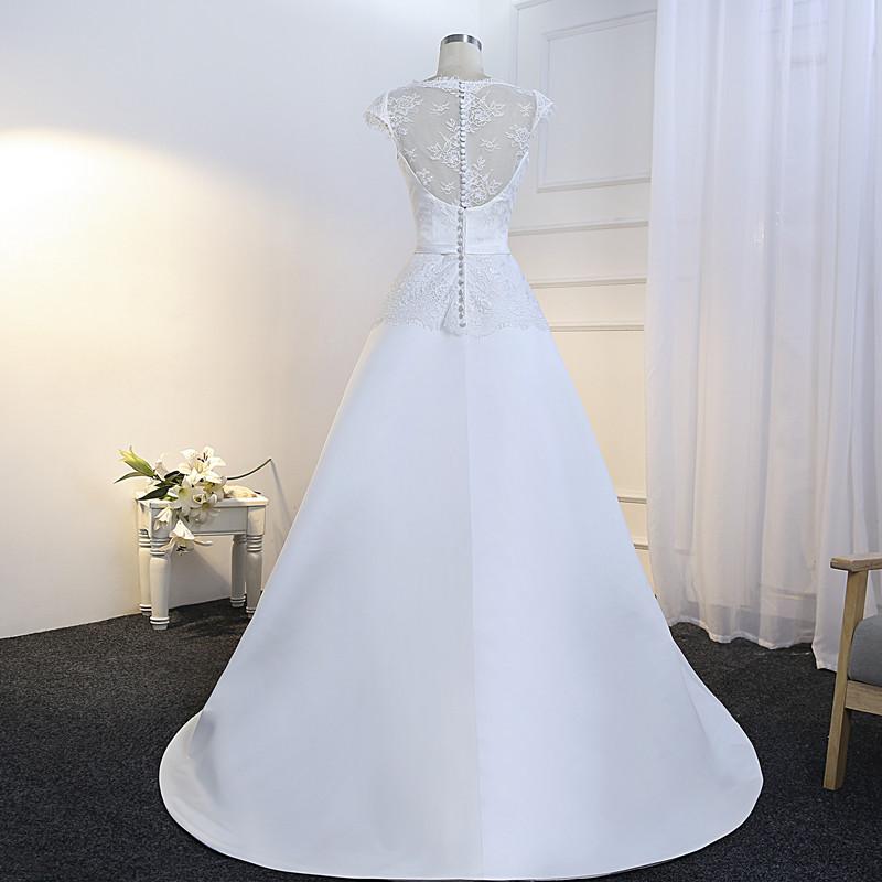 Vestido De Noiva Simples Lace and Satin Wedding Dress 2018 Cheap Bride Dress Illusion Back Floor Length Robes De Mariage 8