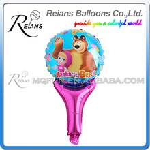 50pcs REIANS 51cm cute cartoon children kids Masha and bear handhold stick gift birthday aluminum foil balloon party supplies(China)