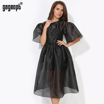 Gagaopt 2017 vestidos de bola de la manga mariposa negro 2 unidades de la vendimia elegante dress for party vestidos de primavera/verano