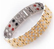 2016 unique stainless steel therapyenergy magnetic health bracelet men germanium bracelet jewelry health benefits(China)