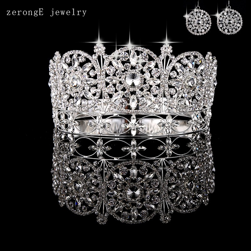 -Large-noble-full-circle-crown-pageant-miss-world-rhinestone-round-full-tiara-crown-with-earring