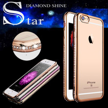 Luxury Diamond Rhinestone Frame TPU Case for Iphone 7 6 6S Transparent Soft Silicone Crystal Rubber Cover for Iphone 6 6S 7 Plus