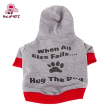 2017 Stylish Hug The Dog Slogan Pattern Coat with Hoodie for Pets Dogs Fashion Dog Clothing XS-L(China)