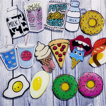 1 PCS Free Shipping Cartoon Acrylic Brooch Donuts Pizza Badges Decoration Pins Brooches Clothing Backpack Accessories Pin