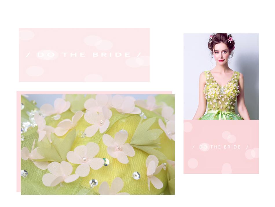 Angel Wedding Dress Marriage Bride Bridal Gown Vestido De Noiva 2017Soft powder, Qingjian Lvxian beauty, petals, green 9718 3