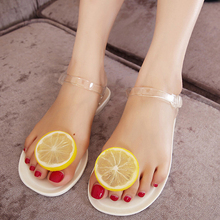 Cute Lemon Flip Flops Women 2017 Jelly Sandals Shoes Girls Summer Flat Beach Sandals Fruit Flower Flip Flops 858690