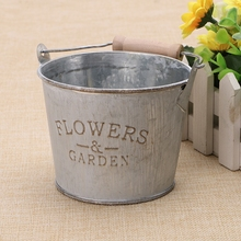 Vintage Galvanised Metal Iron Flower Garden Shabby Vase Creative Pot Barrel Planter Decor Desktop Flowers Vase for Home Decor