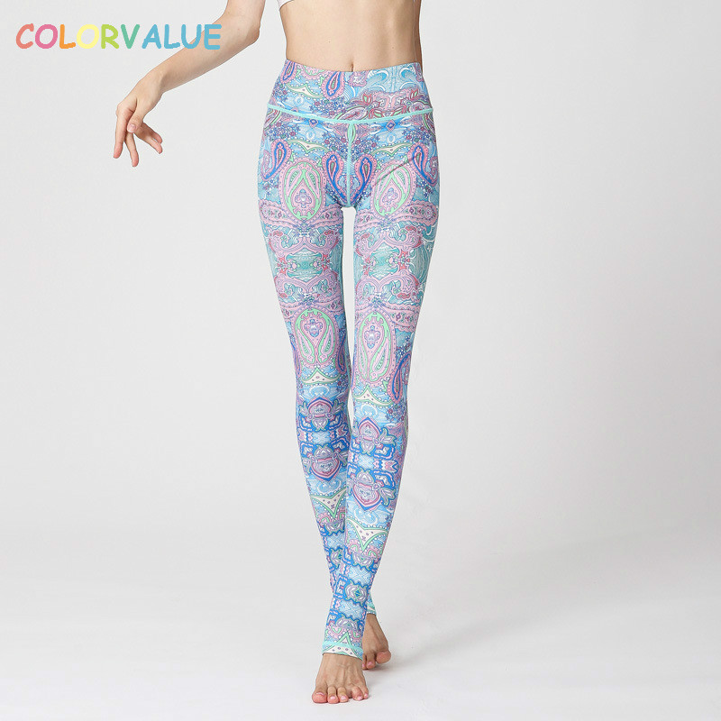 Colorvalue Chic Printed Yoga Pants Women High Waist Seamless Dance Foot Tights Breathable Plus Size Fitness Workout Leggings