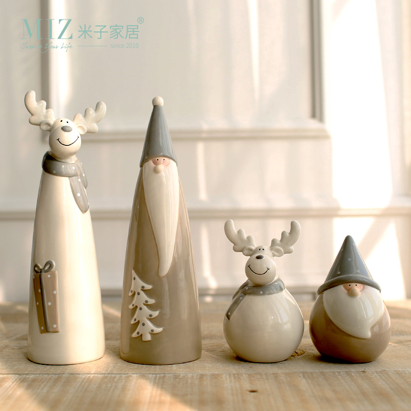 Miz 1 Piece Ceramic Christmas Decoration Party Santa Claus Elk Figurine Christmas Decorations for Home Gift for Kids(China (Mainland))